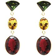 SALE 18CT Natural Chrome Green, Canary Yellow and Rubellite Pink Watermelon Tourmaline Earring