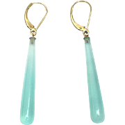 SOLD Handmade Natural Green Chalcedony Earrings 14KT Gold