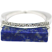SALE Custom Structure Gappoli Italian Natural Lapis and Diamond Ring in 18KT White Gold