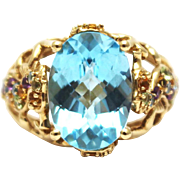 SALE 24 CT Natural Blue Topaz and Gemstones Seahorse Ring in 14KT Gold