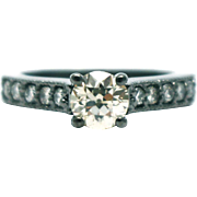 SALE Natural 1.5 CT Solitaire Engagement Diamond Ring in 14KT Gold with Black Rhodium