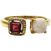 SALE Natural Rubellite Pink Tourmaline, Australian Opal and Diamond Ring in 14KT Gold
