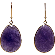 SALE 33CT Natural Tanzanite Earrings 18KT Yellow Gold