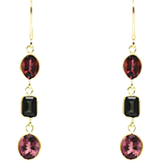 SALE 9CT Natural Chrome Green and Rubellite Pink Watermelon Tourmaline Earrings 18KT Gold