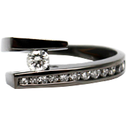 SALE Amazing Natural Diamond Tension Set Solitaire  Ring in 14KT Gold with Black Rhodium