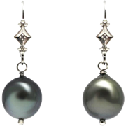 SALE Cultured Tahitian Pearls and Diamonds Earrings 14KT Gold