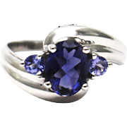 SALE Natural 1.5 CT Natural Iolite and Tanzanite and Diamond Ring in 14KT Gold