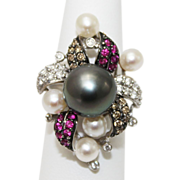 SALE 12mm Most Gorgeous Cultured Tahitian Pearl White & Brown Diamond, Ruby Ring 18KT Whit