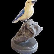 "SALE Large 8 1/2"" Vintage Folk Art Fanciful Blue & Yellow Bird Carving"