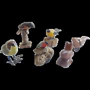 "SALE 6 Vintage Folk Art Miniature Bird Carvings - 1 Signed ""DBS, 73, PA,"" 1 ""Ji"