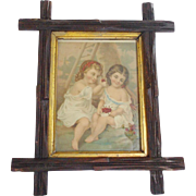 SALE Antique Dated 1892 Print of 2 Girls Eating Cherries in Carved Twig Frame
