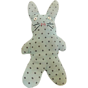 C.1920's-30's Primitive Hand Made Folk Art Polka-Dot Bunny Stuffed Toy