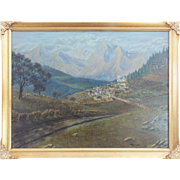 "SALE Folk Art Painting of Mountain Village with Herd of Sheep Sgd. ""Marnell"""