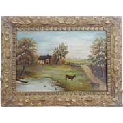 Early 1900's Folk Art Oil Painting of Farm Scene With Cows, Sheep, Ducks