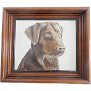 Vintage Folk Art Gouache Portrait Painting of a Chocolate Lab Dog