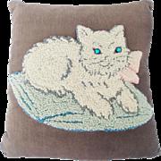 Vintage Hand Made Folk Art Hooked Cat Pillow