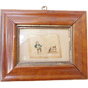 19th C. Naive Folk Art Miniature Watercolor of Man & 2 Cats