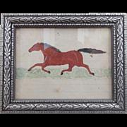 19th C. Naive Folk Art Miniature Watercolor of Running Horse