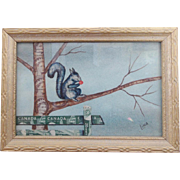 Vintage Mid 20th C. Canadian Folk Art Squirrel Picture Made of Stamps