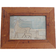 Vintage Naive American Folk Art Miniature Watercolor of Elk Family