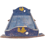 Ealry 1900's Primitive Folk Art Doll Cradle in Original Blue Paint w/Baby Chicks ...