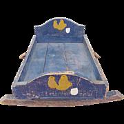 Ealry 1900's Primitive Folk Art Doll Cradle in Original Blue Paint w/Baby Chicks ...