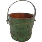 SALE 19th C. New England Primitive Miniature Wood Bucket in Original Green Paint