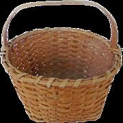 Vintage Primitive Hand Made Oak Splint Round Gathering Basket
