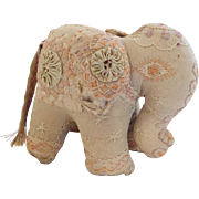 SALE Antique Victorian Folk Art Elephant Pin Cushion Whimsy
