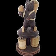 Antique German Black Forest Folk Art Bear Pin Cushion