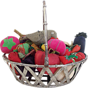 SOLD 22 Vintage Fruit and Vegetable Pin Cushions Emeries + Homespun Bird in Silver Basket