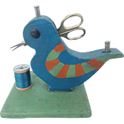 Vintage Folk Art Child's  Bluebird Sewing Caddy Stand