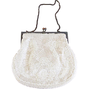 1920's French Art Deco Off-White Beaded Evening Purse