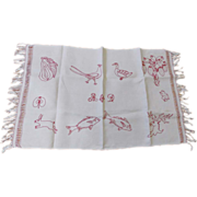 SOLD Early 1900's Hand Made Redwork  Table Runner With Animal & Plant Images