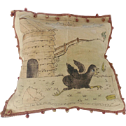 Vintage Pictorial Pillow Cover of Baby Chick Chasing Butterfly