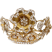 Antique french gilded brass Crown or Tiara, paste stones, 19th century