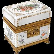 Antique french white opaline and golden brass casket, era Charles X 19th century