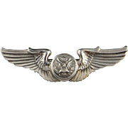 SALE Pilots Wings Sterling Silver Pin Brooch Art Deco 925 Air Force Brooch United States ...