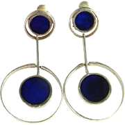SALE Lapis Lazuli Drop Silver Earrings Sterling Silver Inlay Inlaid Large Chunky Statement Mid