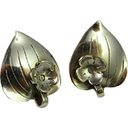 SALE 1950s Sterling Silver Earrings Designer Signed Anton Michelsen Denmark Engels Vintage ...