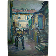 SOLD Signed Judaica Oil Painting, Rafael CHWOLES, Jewish Men in a Township, 33 x 24cm