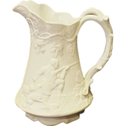 English 1847 salt glaze Pitcher with hunting scenes
