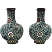 Pair of Chinese Ming Dynasty (1368-1644) Cloisonne vases