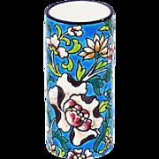 LONGWY Enameled Majolica Cylinder Vase