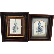 Pair of Victorian prints in solid wood mahogany frames