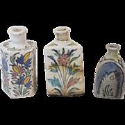 Lot of 3 Persian pottery bottles / flasks