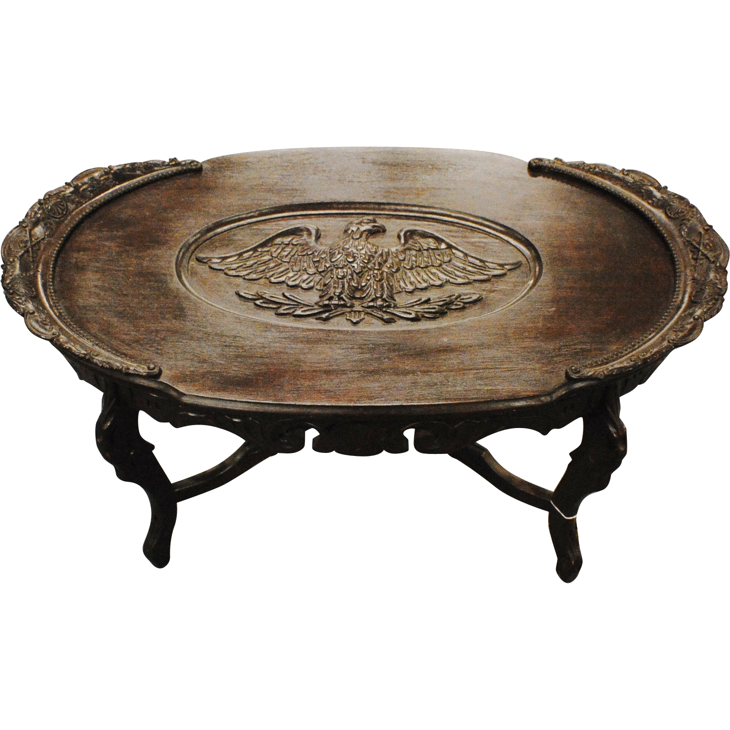 Coffee Table With Carved Eagle And Civil War Scene From