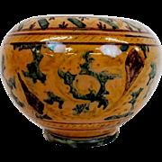 """Italian Monteluce pottery vase 5 1/2"""" tall, 7 1/2"""" diameter. Marked, Circa 1920's"""