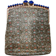SOLD French Brocade and Jeweled Evening Bag