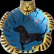 Vintage Signed Garson Figural Art Pottery Bowl